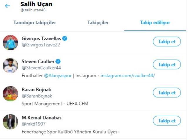 Salih Uçan, sosyal medya hesabından Fenerbahçeli yöneticiyi takip etmeye başladı