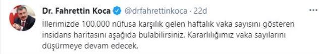 Son Dakika: Bakan Koca, illere göre her 100 bin kişide görülen Kovid-19 vaka sayılarını açıkladı
