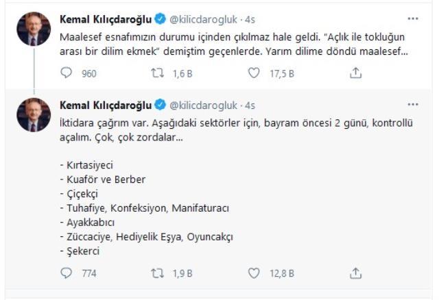 Kılıçdaroğlu'ndan iktidara çağrı: Esnaf zorda, bayram öncesi iki gün kontrollü açalım