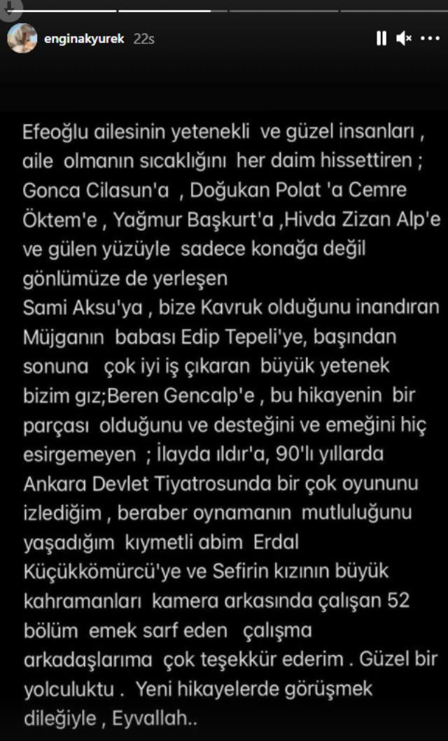 Engin Akyürek, Sefirin Kızı'nda çalışan herkese teşekkür ederken eski rol arkadaşı Neslihan Atagül'ün adını anmadı