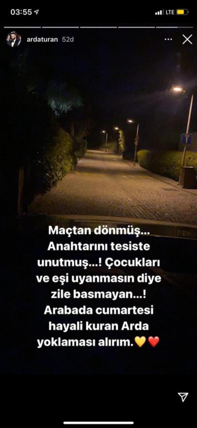 Gece yarısı evine giremeyen Arda Turan, sokakta sabahladı