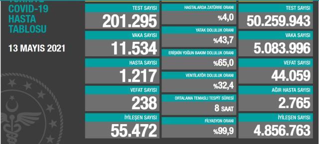 13 Mayıs Perşembe Koronavirüs tablosu açıklandı mı? 13 Mayıs Perşembe günü Türkiye'de bugün koronavirüsten kaç kişi öldü, kaç kişi iyileşti?