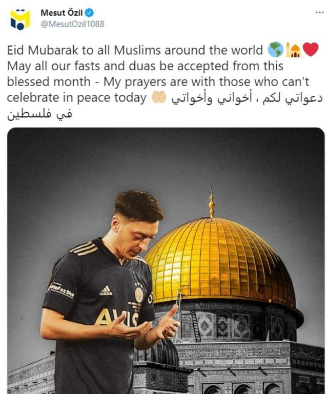 Mesut Özil, Ramazan Bayramı mesajında Kudüs'teki Müslümanları unutmadı