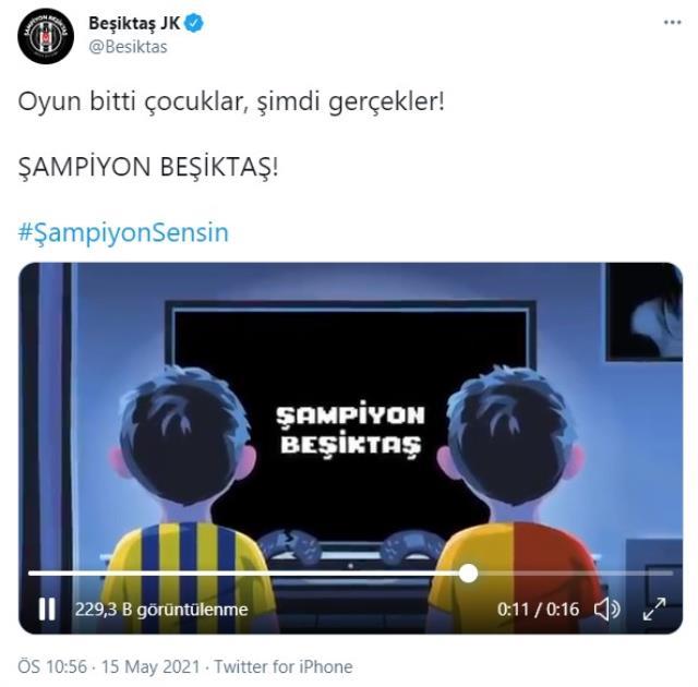 Süper Lig'de tarihi sezonun şampiyonu Beşiktaş