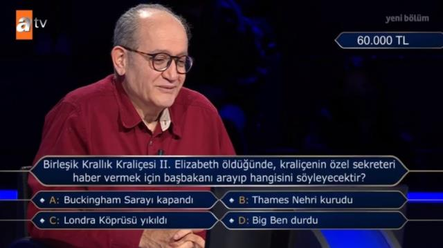 (60 bin TL'lik soru) Kim Milyoner Olmak İster 16 Mayıs (Kraliçe II. Elizabeth) sorusu cevabı nedir? Kim Milyoner Olmak İster cevabı ne?