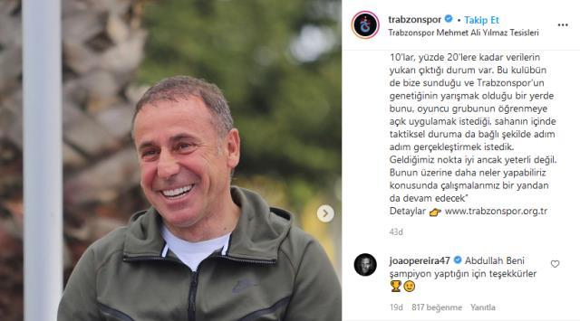 Joao Pereira'nın Abdullah Avcı yorumu sosyal medyayı salladı: Beni şampiyon yaptığın için teşekkürler