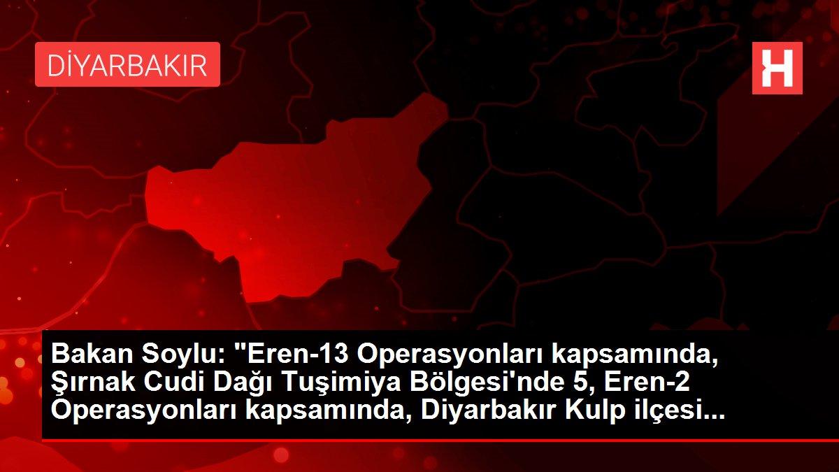Eren operasyonları kapsamında Şırnak-Cudi Dağı Tuşimiya bölgesinde 5, Diyarbakır-Kulp ilçesi Yaylak kırsalında 2 olmak üzere 7 terörist etkisiz hale...