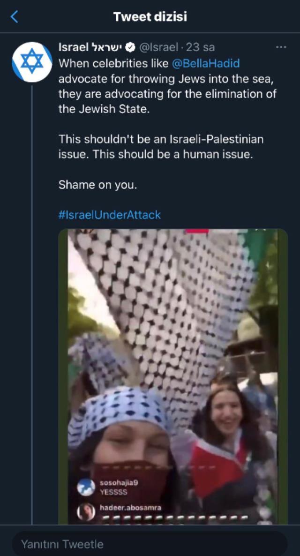İsrail, saldırılara tepki gösteren Bella Hadid'e adeta savaş açtı