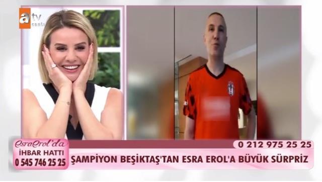 Şampiyon olan Beşiktaş futbolcularından kendilerine destek veren Esra Erol'a video göndererek sürpriz