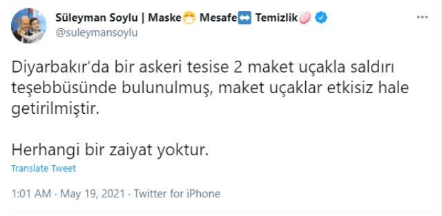 Diyarbakır'da askeri tesise maket uçaklı saldırı girişimi! Bakan Soylu'dan açıklama geldi