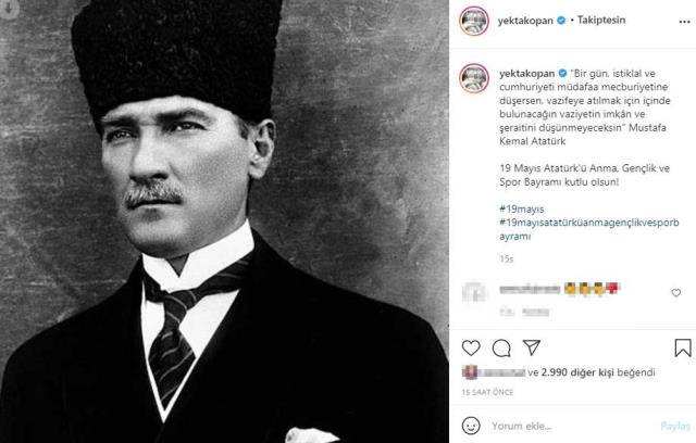 Ünlü isimlerin 19 Mayıs Atatürk'ü Anma Gençlik ve Spor Bayramı paylaşımları