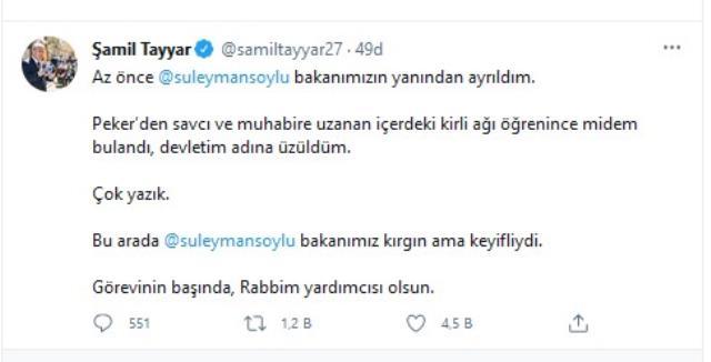 AK Parti MKYK üyesi Şamil Tayyar: Süleyman Soylu görevinin başında