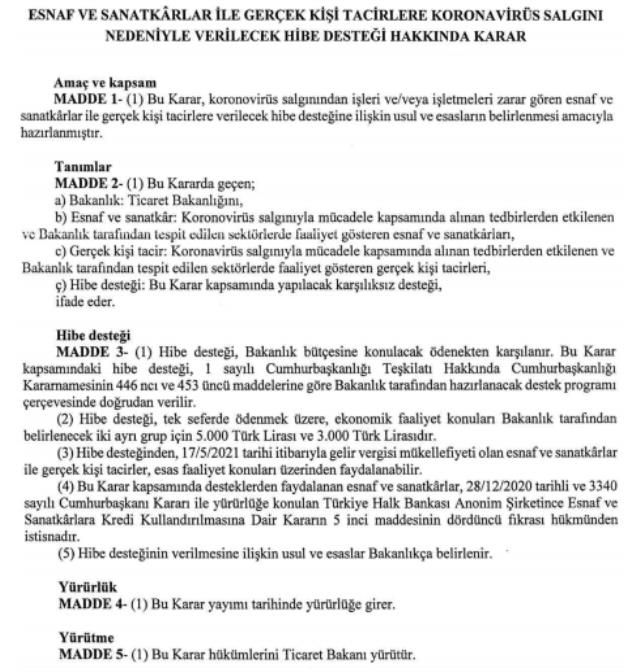 Esnafa hibe desteği kararı Resmi Gazete'de! 17 Mayıs itibarıyla gelir vergisi mükellefi olan esnaf yararlanacak