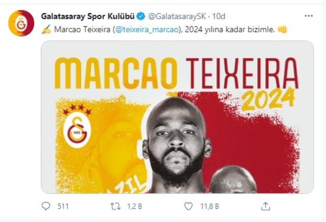 Galatasaray, başarılı stoperi Marcao'nun mukavelesini 2024'e dek uzattı