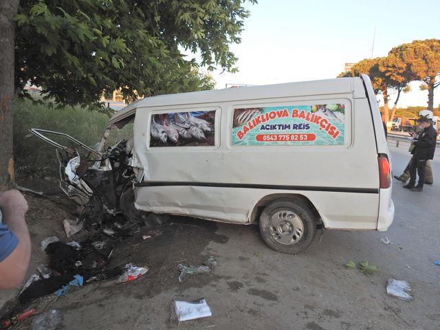 İzmir'de ağaca çarpan midibüsteki 2 kişi yaralandı