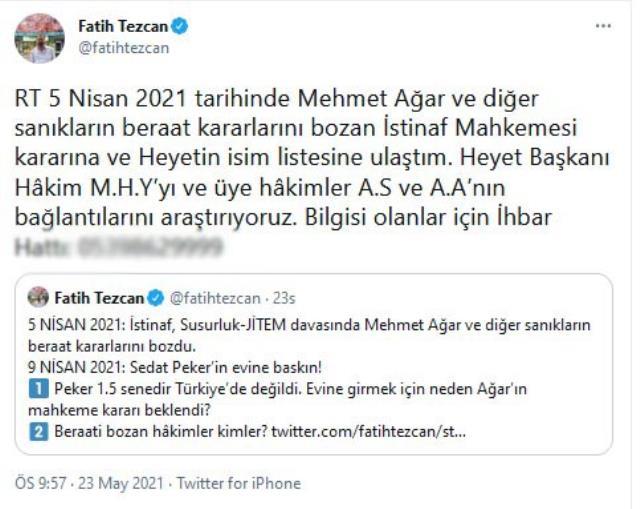 Fatih Tezcan'a Mehmet Ağar hakkındaki kararı bozan hakimleri hedef gösterme soruşturması