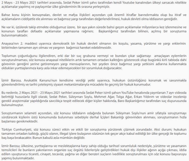 İzmir Barosu, Sedat Peker videolarıyla ilgili harekete geçti! 6 kişi hakkında suç duyurusunda bulunuldu