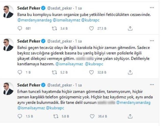 Sedat Peker, Süleyman Soylu'nun canlı yayındaki sözlerine Twitter'dan yanıt verdi