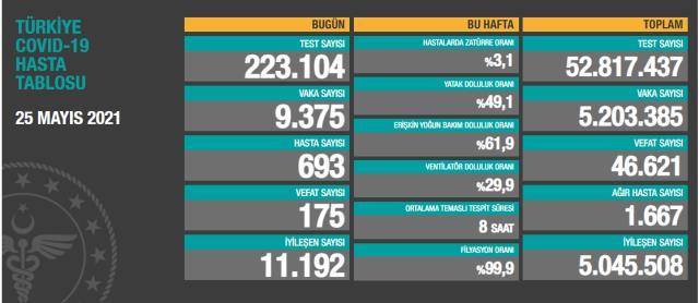 Son Dakika: Türkiye'de 25 Mayıs günü koronavirüs nedeniyle 175 kişi vefat etti, 9 bin 375 yeni vaka tespit edildi