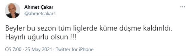 Sosyal medya Ahmet Çakar'ın paylaşımıyla çalkalanıyor: Beyler bu sezon tüm liglerde küme düşme kaldırıldı