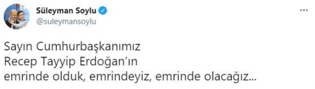 Son Dakika! Süleyman Soylu kendisine destek veren Cumhurbaşkanı Erdoğan'a teşekkür etti: Emrindeyiz