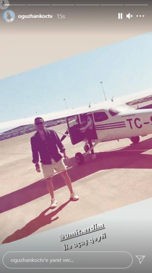 Oyuncuyken pilot olan Ümit Erdim, ilk yolculuğunda ünlü isimleri uçurdu