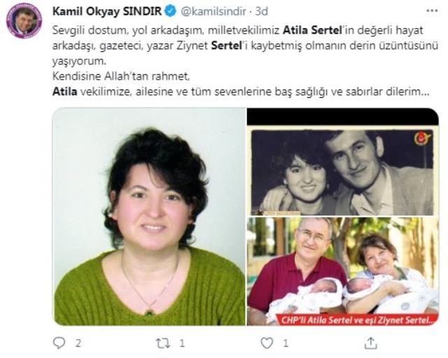 CHP İzmir Milletvekili Atilla Sertel'in eşi Ziynet Sertel hayatını kaybetti
