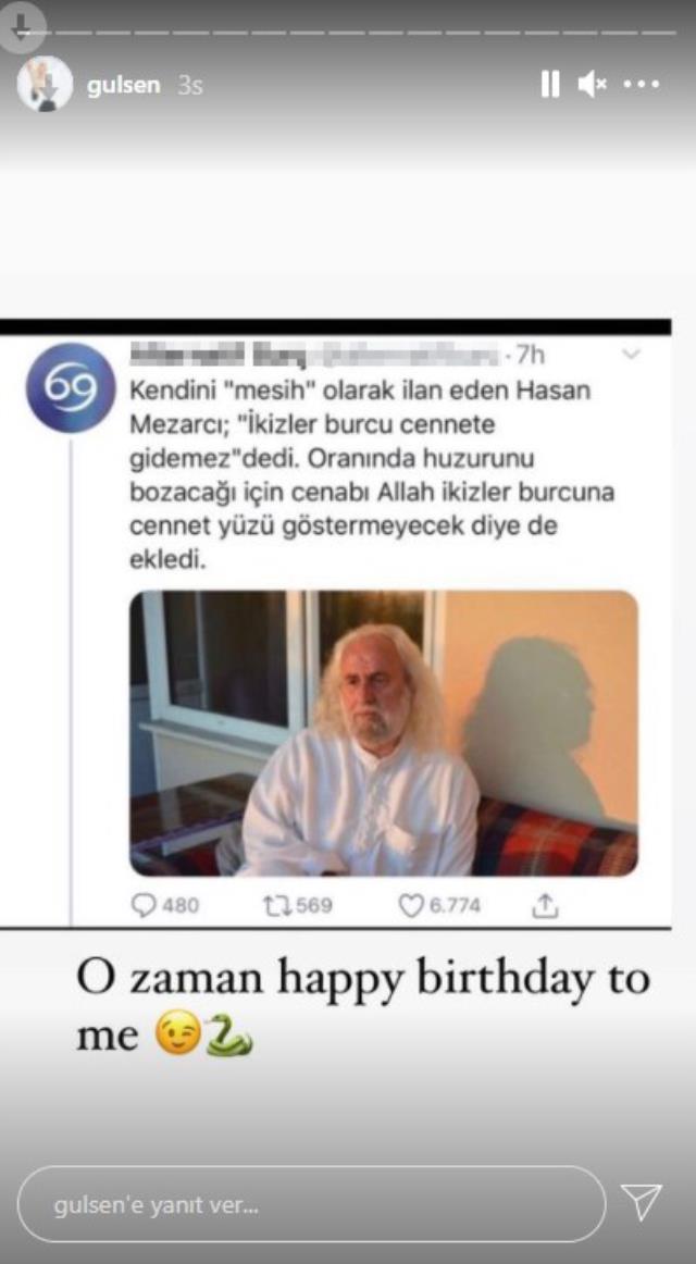 Doğum günü paylaşımında Hasan Mezarcı'yı tiye alan Gülşen takipçilerini güldürdü
