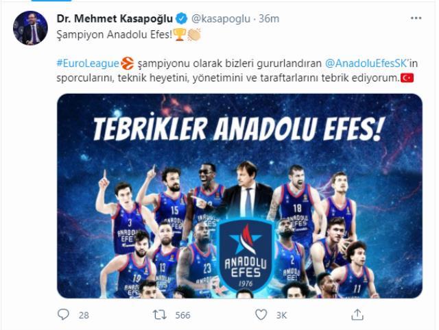 EuroLegue şampiyonu Anadolu Efes'e siyasilerden tebrik mesajı yağdı