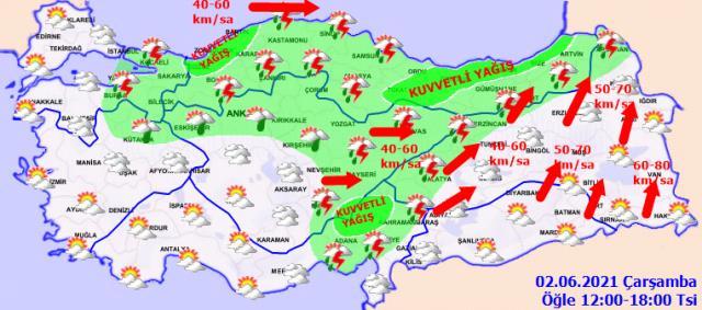 Meteoroloji'den 4 bölgeye ve 3 ile kuvvetli yağış uyarısı
