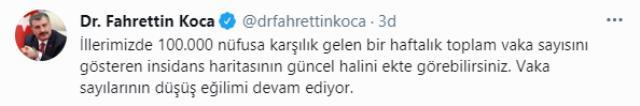 Son Dakika: Sağlık Bakanı Koca, illere göre haftalık vaka haritasını paylaştı! İstanbul'daki düşüş sürüyor