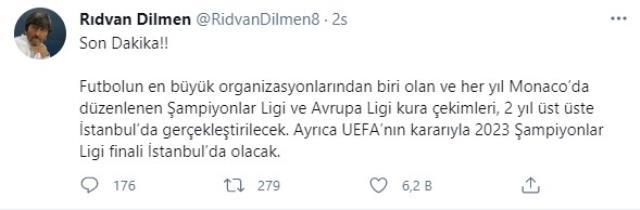 Rıdvan Dilmen: 2023 Şampiyonlar Ligi finali İstanbul'da olacak