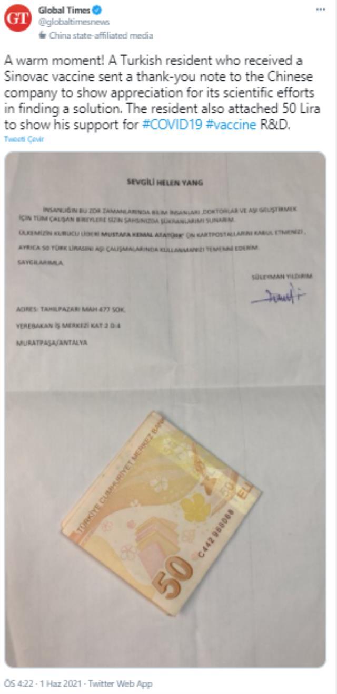 Türkiye'de aşı olan vatandaş, Sinovac'a teşekkür mektubu ve 50 lira gönderdi