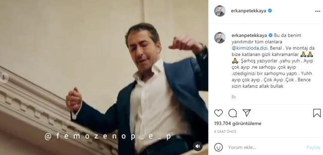 TV8'de yayınlanan törende Kerimcan'a ödül verildiğini gören Erkan Petekkaya, Acun Ilıcalı'ya demediğini bırakmadı
