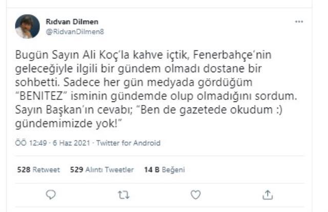Ali Koç'la buluşan Rıdvan Dilmen, 'Başkan'ın Benitez'den haberi bile yok' paylaşımı yaptı