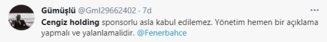 Fenerbahçe'nin yeni sponsorunun Cengiz Holding olacağı iddialarına taraftarlar ateş püskürdü