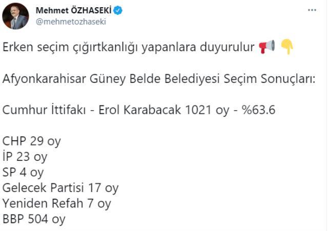 Güney beldesindeki seçimlerin ardından Mehmet Özhaseki dikkat çeken sözler: Erken seçim çığırtkanlığı yapanlara duyurulur