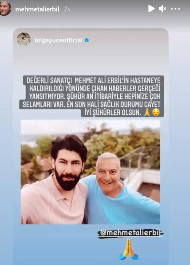 Mehmet Ali Erbil'in hastaneye kaldırıldığı haberlerine oyuncu Yüce'den yalanlama geldi
