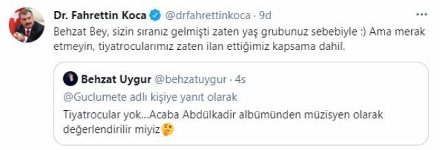 Behzat Uygur'un müzisyen göndermeli aşı tepkisine Bakan Koca'dan yanıt: Sizin sıranız gelmişti zaten