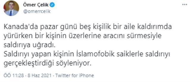 Kanada'da Müslüman aileye yapılan saldırıyla ilgili AK Parti Sözcüsü Ömer Çelik'ten tepki: Bu saldırıları İslam düşmanlığından ayrı göremeyiz