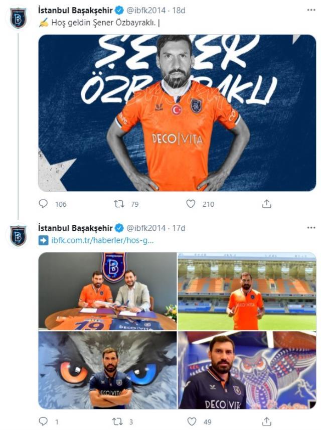 Galatasaray'a veda eden Şener Özbayraklı, Başakşehir'le 2 yıllık sözleşme imzaladı