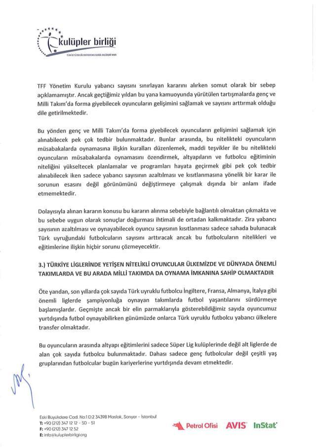 Kulüpler Birliği, TFF'nin yabancı kuralı kararıyla ilgili Tahkim Kurulu'na iptal başvurusu yaptı