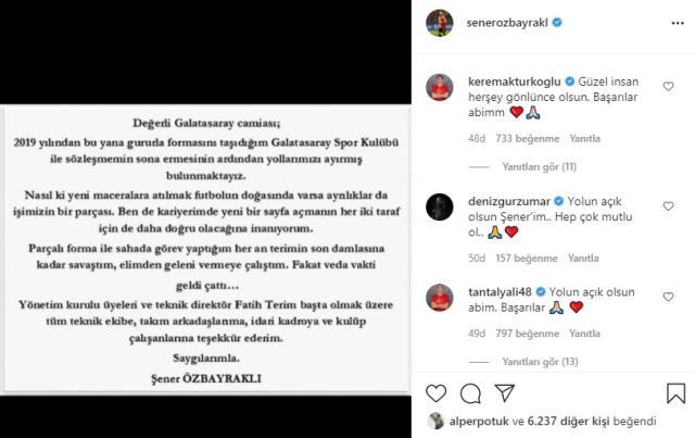 Şener Özbayraklı yaptığı paylaşımla Galatasaray'a veda etti