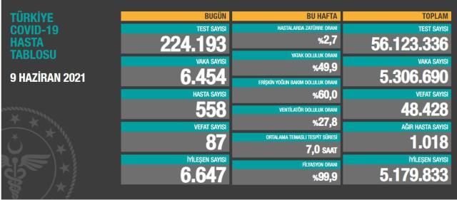 Son Dakika: Türkiye'de 9 Haziran günü koronavirüs nedeniyle 87 kişi vefat etti, 6 bin 454 yeni vaka tespit edildi