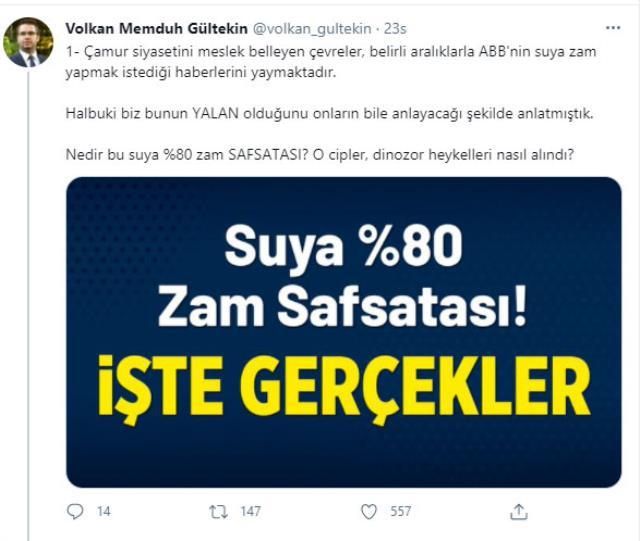 Ankara Büyükşehir Belediyesi'nin suya %80 zam yapılacağı iddiası