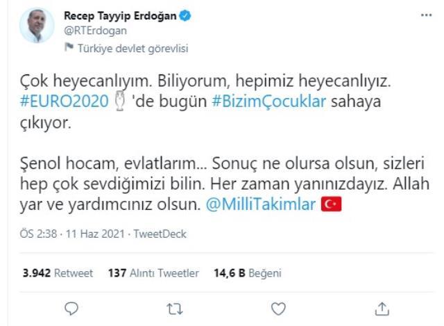 Cumhurbaşkanı Erdoğan'dan Milli Takım'a duygusal mesaj: Allah yardımcınız olsun evlatlarım
