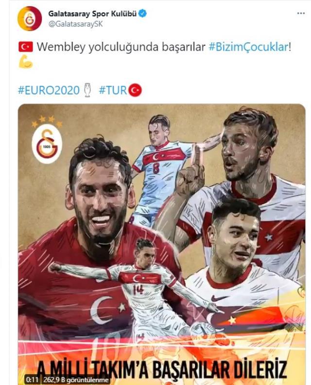 Galatasaray'ın resmi hesabından taraftarı heyecanlandıran Hakan Çalhanoğlu paylaşımı