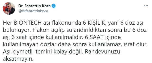 Son Dakika! Sağlık Bakanı Fahrettin Koca'dan BioNTech uyarısı: 6 saat içinde kullanılmayan aşılar israf oluyor, randevunuzu aksatmayın