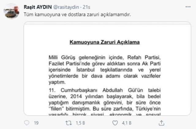 'Abdullah Gül'ün danışmanıyım' diyen Reşit Aydın istifa metni yayınladı, iddiaları yenilir yutulur cinsten değil