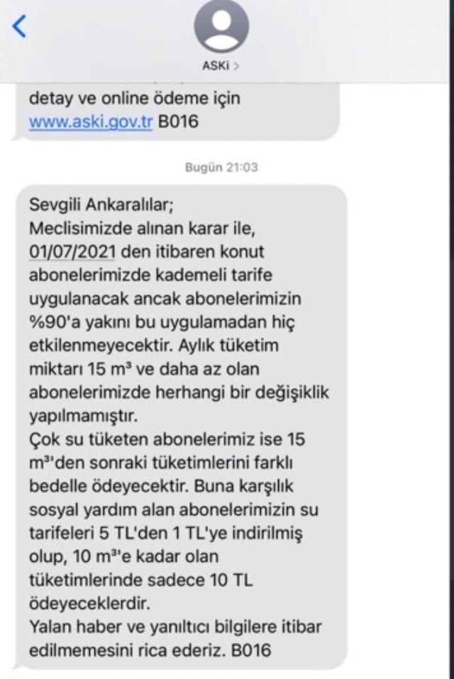 Ankara Büyükşehir Belediyesi'nden 'suya yüzde 80 zam' haberine yalanlama